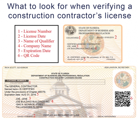 Contractor License Example