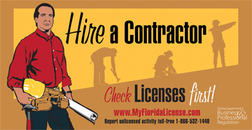 Hire a contractor. Check licenses first. www dot my florida license dot com