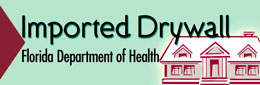 Link to Department of Health website regarding Imported Drywall